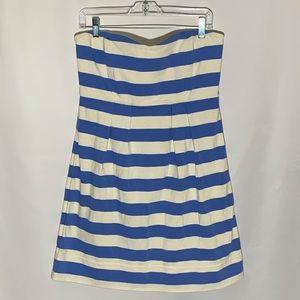 J. Crew blue striped cotton dress, sweetheart, 12